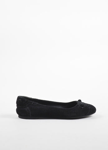 "Balenciaga Black Suede Perforated Trim ""Arena"" Ballet Flats Sideview"