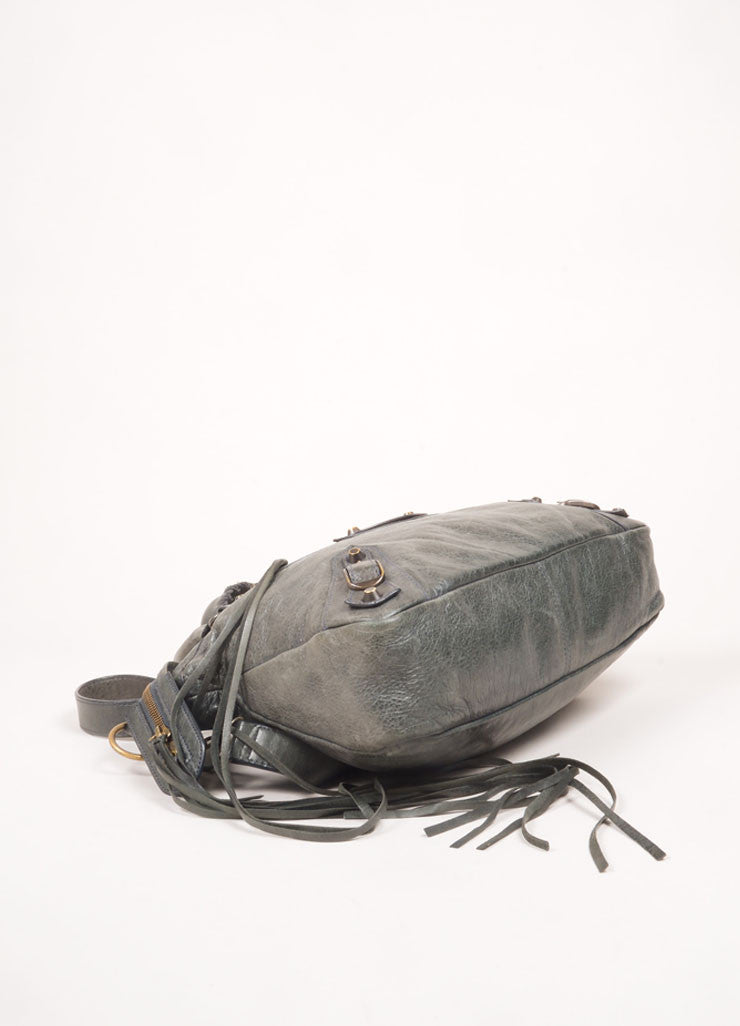 "Dark Grey Distressed Leather Classic ""Town"" Cross Body Moto Bag"