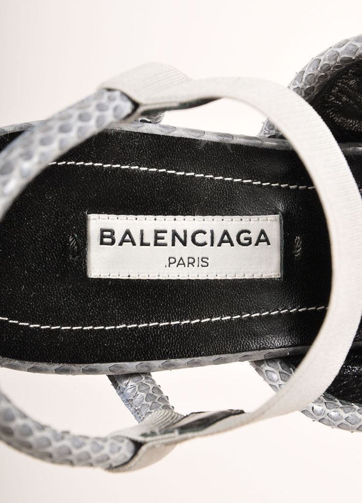 Balenciaga New In Box Grey Elastic Snakeskin Leather Trim Wedge Sandals Brand