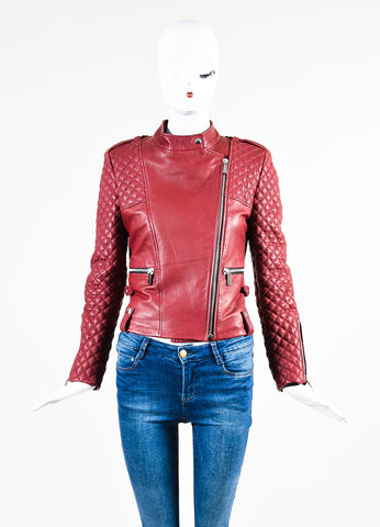 Barbara Bui Maroon Red Silver Toned Leather Quilted Zip Moto Jacket Frontview 2