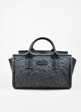 Brunello Cucinelli Grey Cashmere and Leather Monili Bonded Flower East-West Tote Bag Frontview