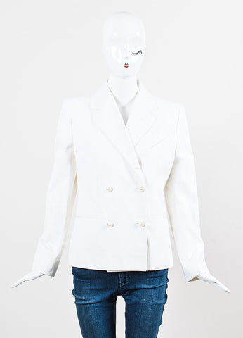 Chanel White Cotton Blend Striped Double Breasted Pearl Button Jacket Frontview 2