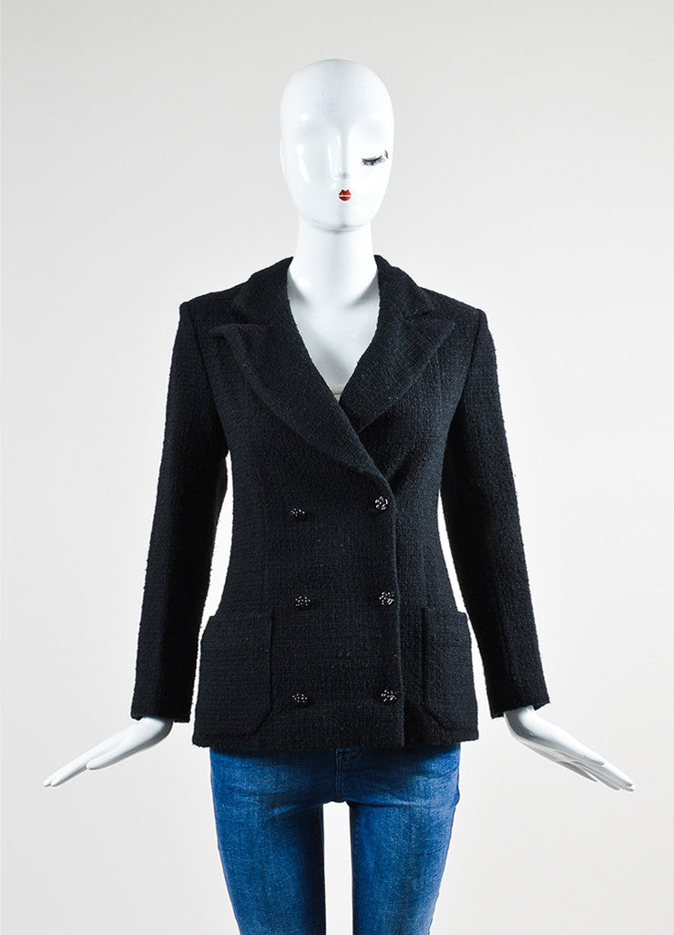 Black Wool and Angora Tweed Camellia Button Double Breasted Jacket Frontview 2