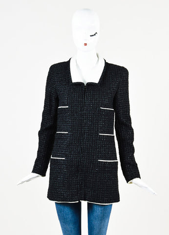 Chanel Black and White Metallic Tweed Zip Up Long Sleeve Jacket Frontview 2