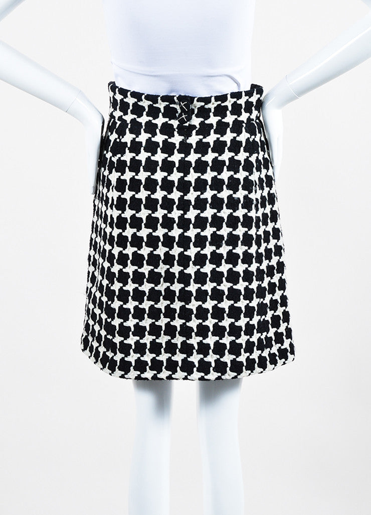 Black and White Chanel Wool Blend Tweed Houndstooth Knit A-Line Skirt Backview