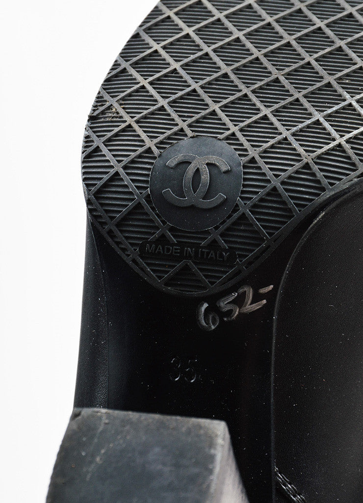Chanel Black Leather 'CC' Detail Calf High Zipped Riding Boots Brand