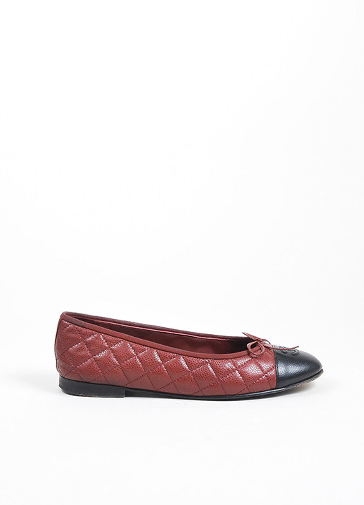 Dark Red and Black Chanel Caviar Leather 'CC' Cap Toe Ballet Flats Sideview