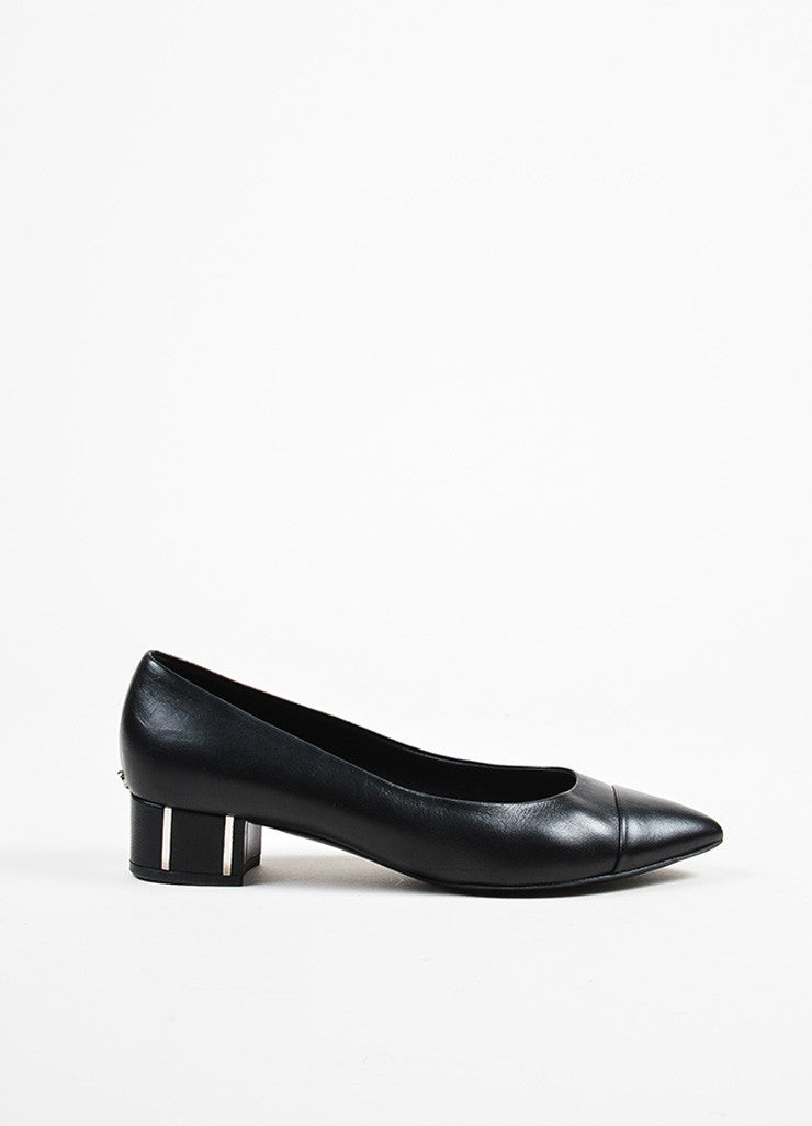 Black Leather Chanel 'CC' Embellished Block Heel Cap Toe Pumps Sideview