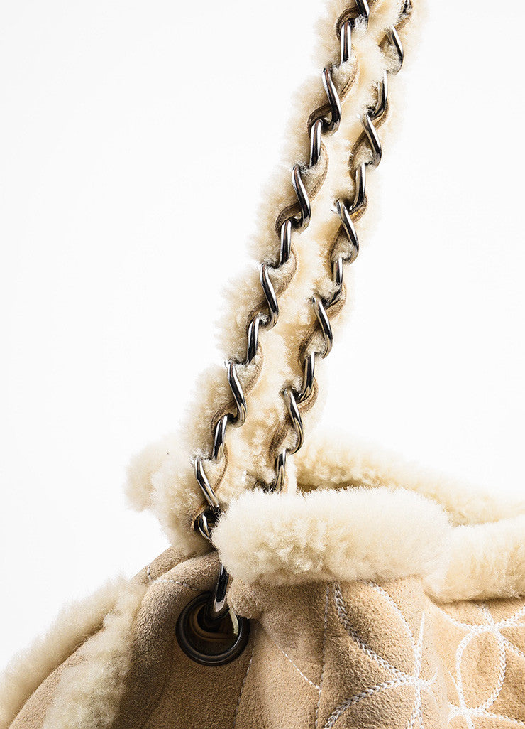 Chanel Beige Quilted Shearling 'CC' Logo Chain Strap Bag Detail 2