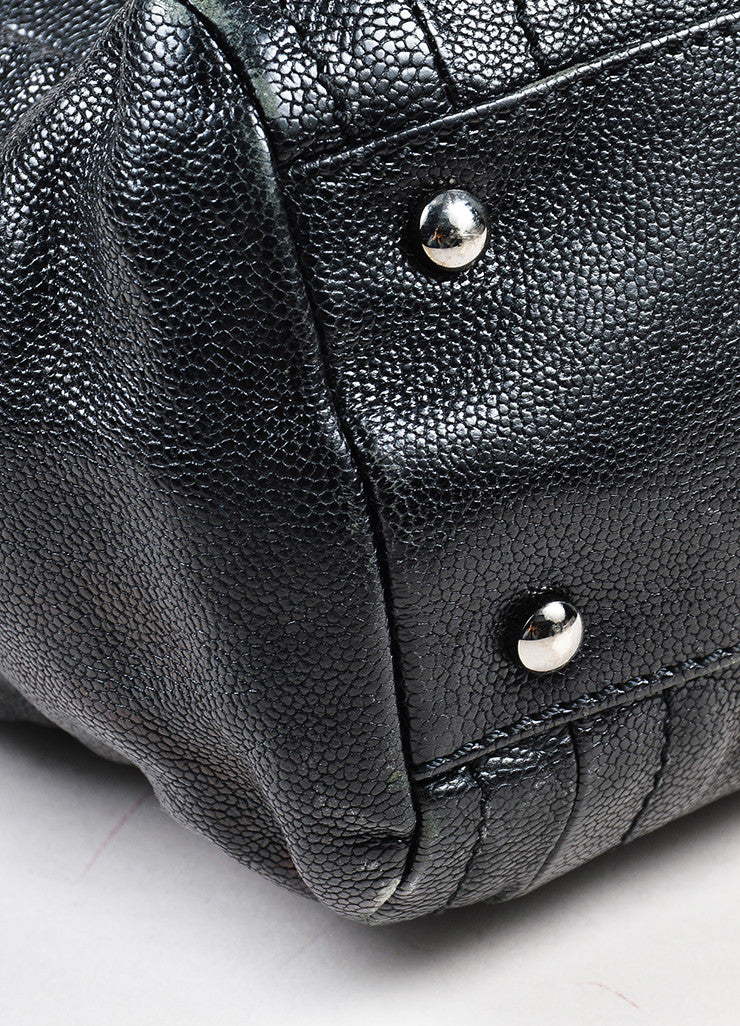 "Black Chanel Caviar Leather Luxe Ligne ""Modern Chain"" Tote Bag Detail"