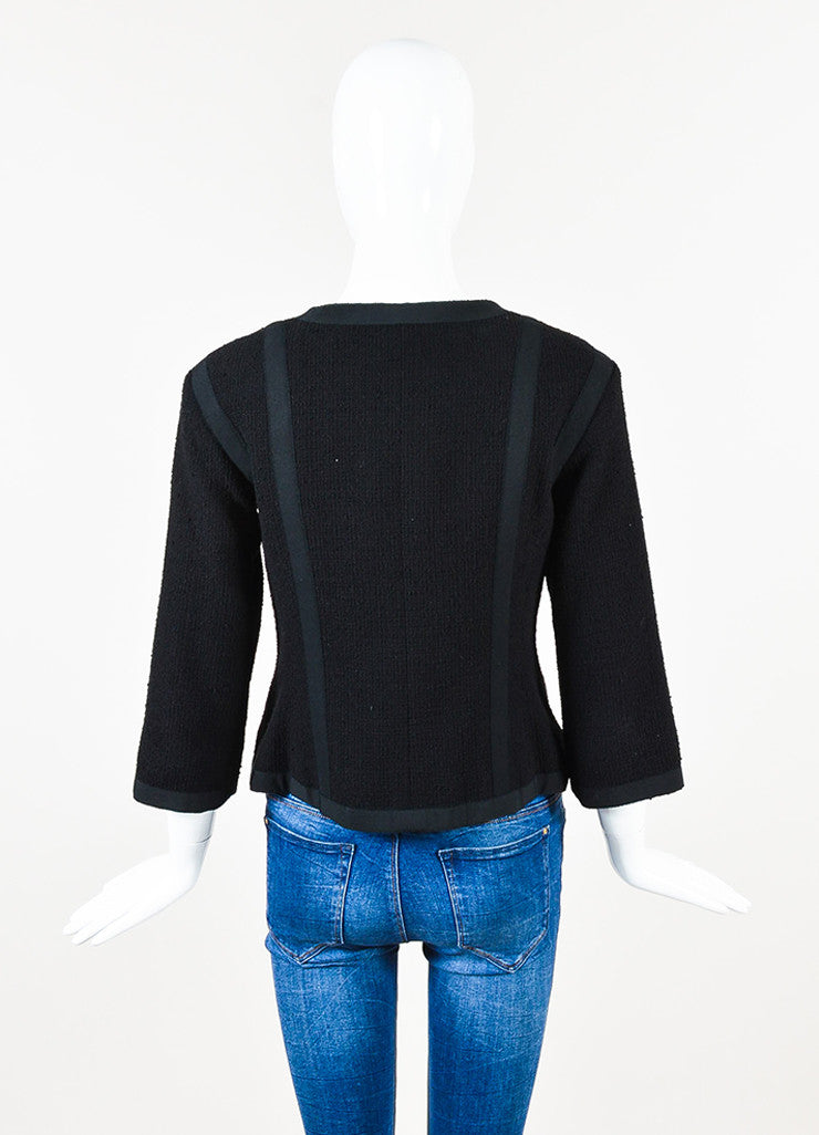 Chanel Black Cotton Tweed Grosgrain Cropped Sleeve Tailored Jacket Backview