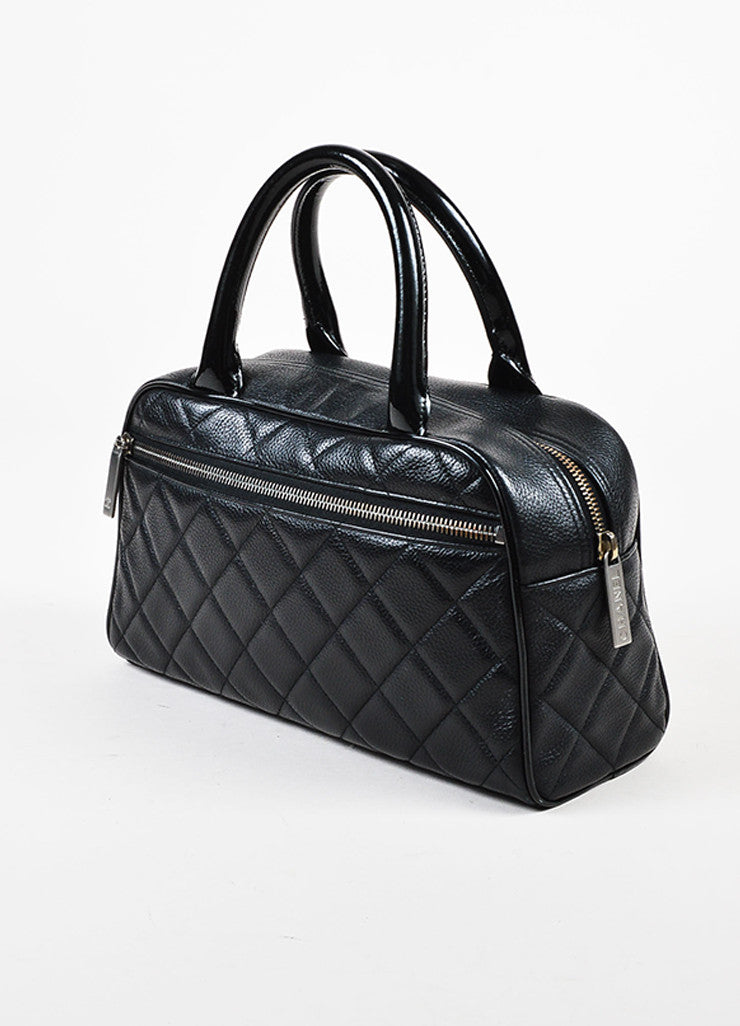 Chanel Black Leather Glossy Logo Detail and Top Handle Quilted Bowler Bag Sideview