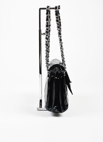Black Chanel Patent Leather Quilted Accordian Chain Strap Bag Sideview