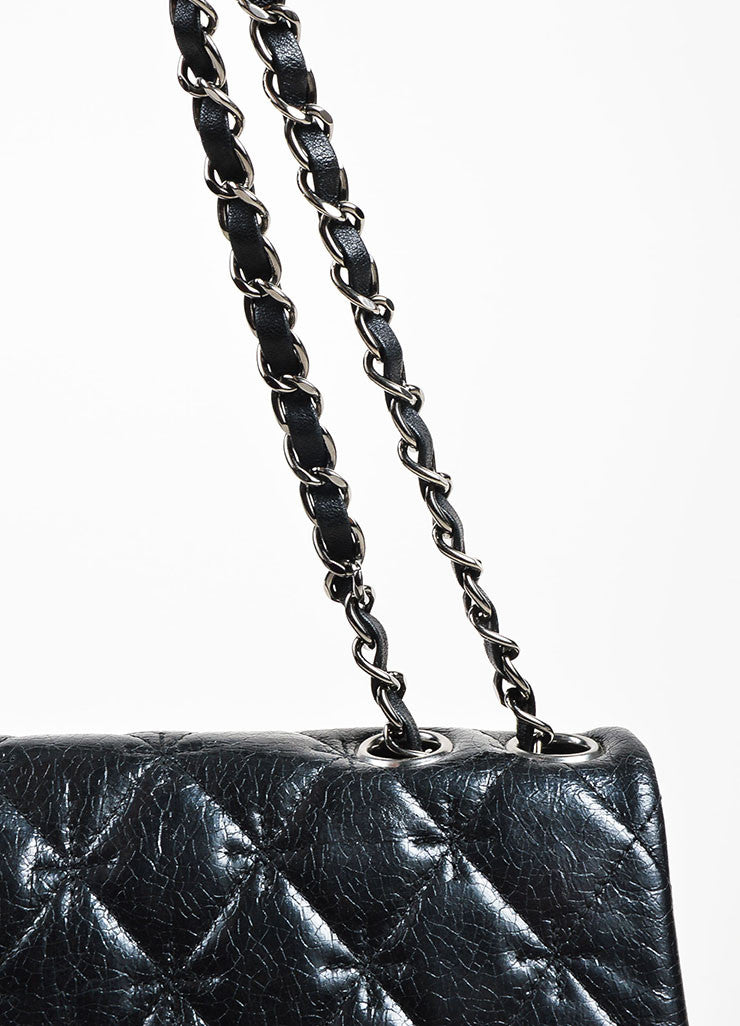 Black Chanel Quilted Glazed Crackled Leather Mademoiselle Chain Strap Bag Detail 2