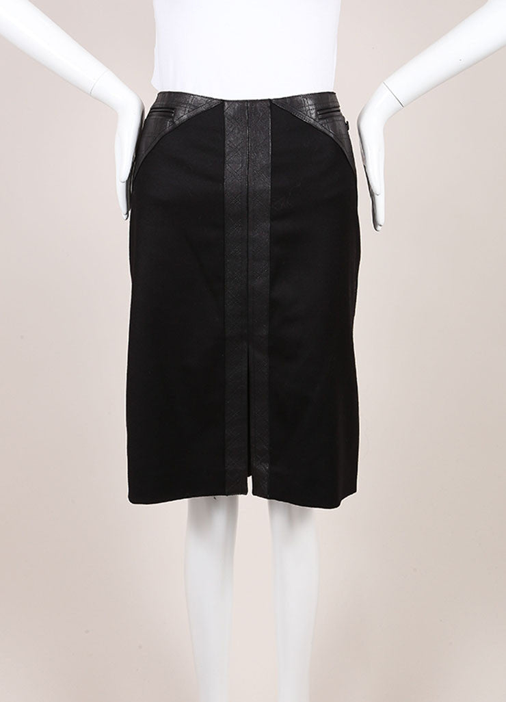 Chanel Black Stretch Wool and Cashmere Quilted Leather Trim Pencil Skirt Frontview