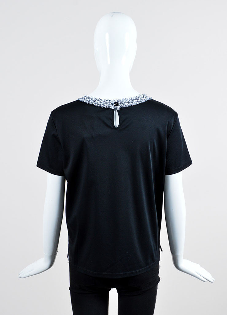 Black and White Chanel Cotton Tweed Neck and Pocket T-Shirt Backview