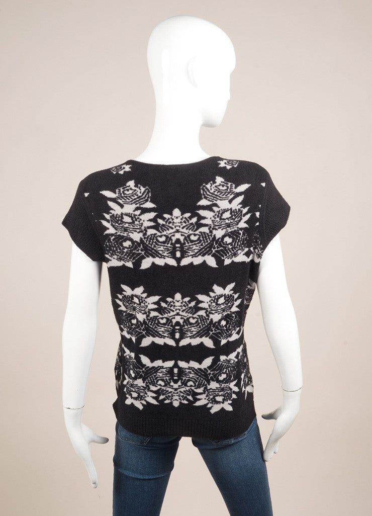 Chanel Black and White Wool Blend Floral Knit Cap Sleeve Sweater Backview
