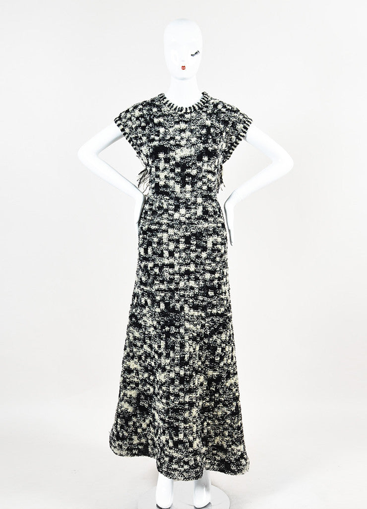 Chanel Black and White Wool Boucle Knit Cross Strap Fringe Short Sleeve Long Gown Frontview