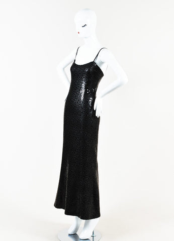 Chanel Black Wool Blend Long Sequin Embellished Split Evening Dress Sideview