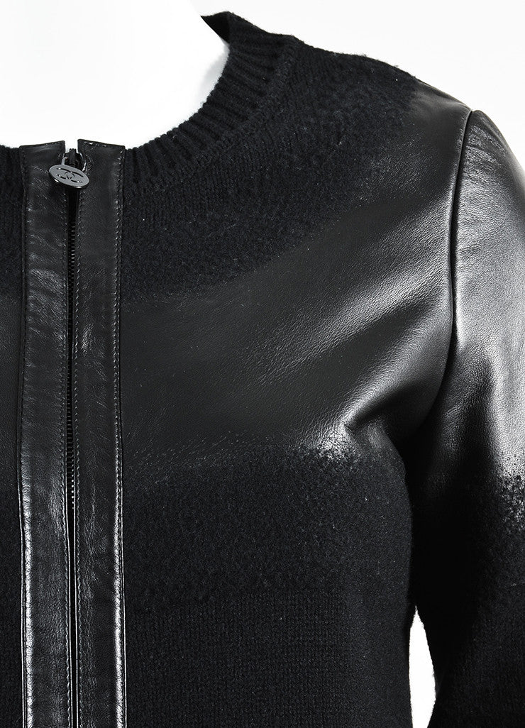 Chanel Black Wool and Lambskin Trim Gradient Blend 'CC' Patch Sweater Jacket Detail