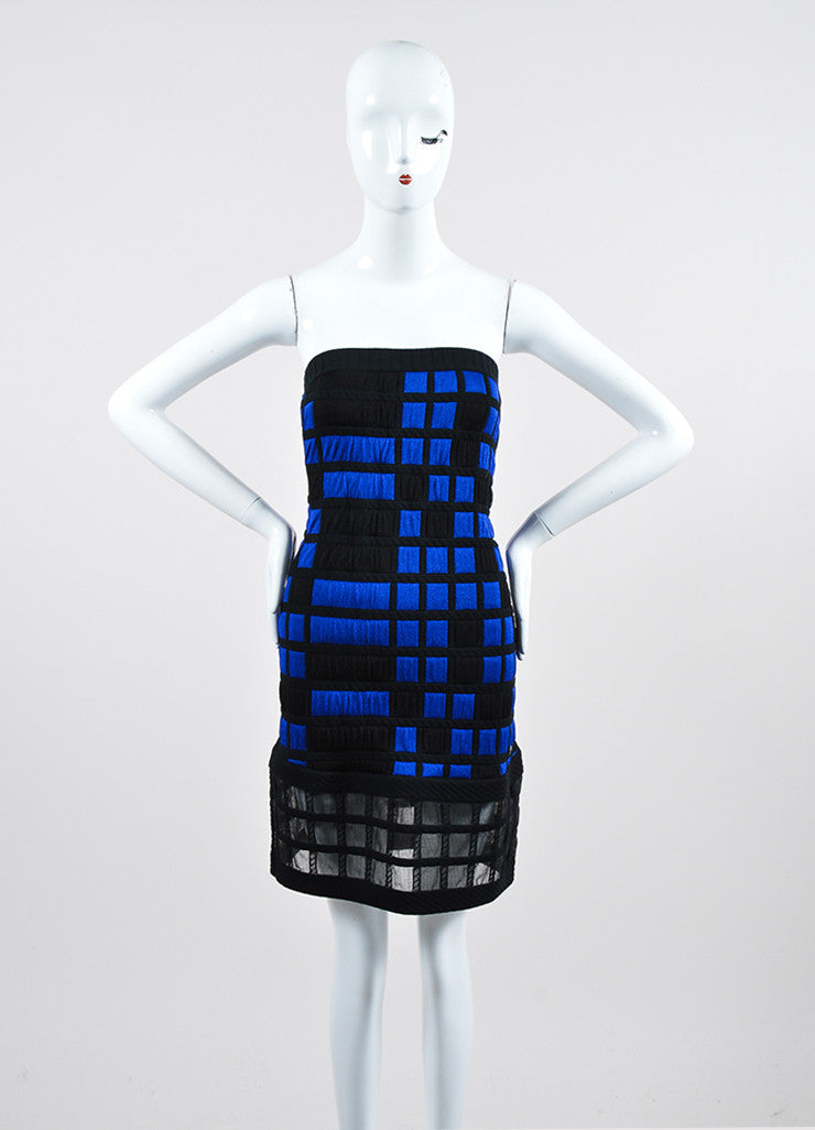 Blue and Black Chanel Knit Checkered Quilted Mesh Panel Strapless Dress Frontview