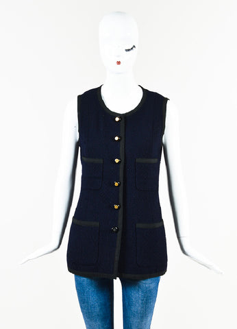 Chanel Navy Tweed Black Trim Four Pocket Button Up Vest Frontview 2