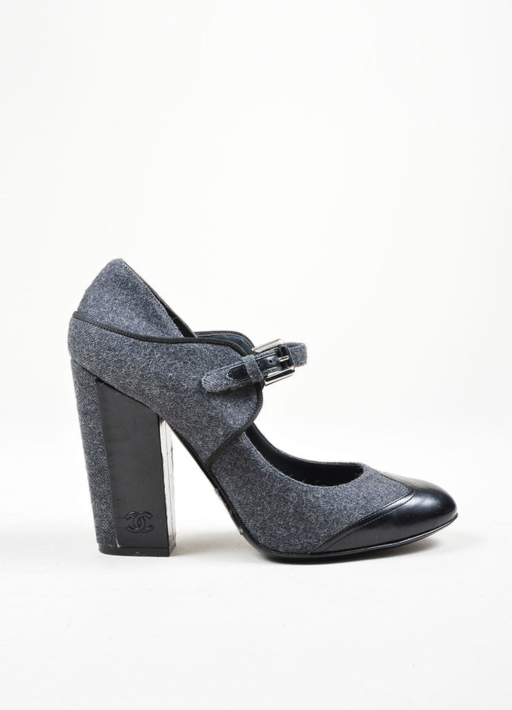 Charcoal Grey Chanel Woolen Leather Trim Mary Jane Pump Side