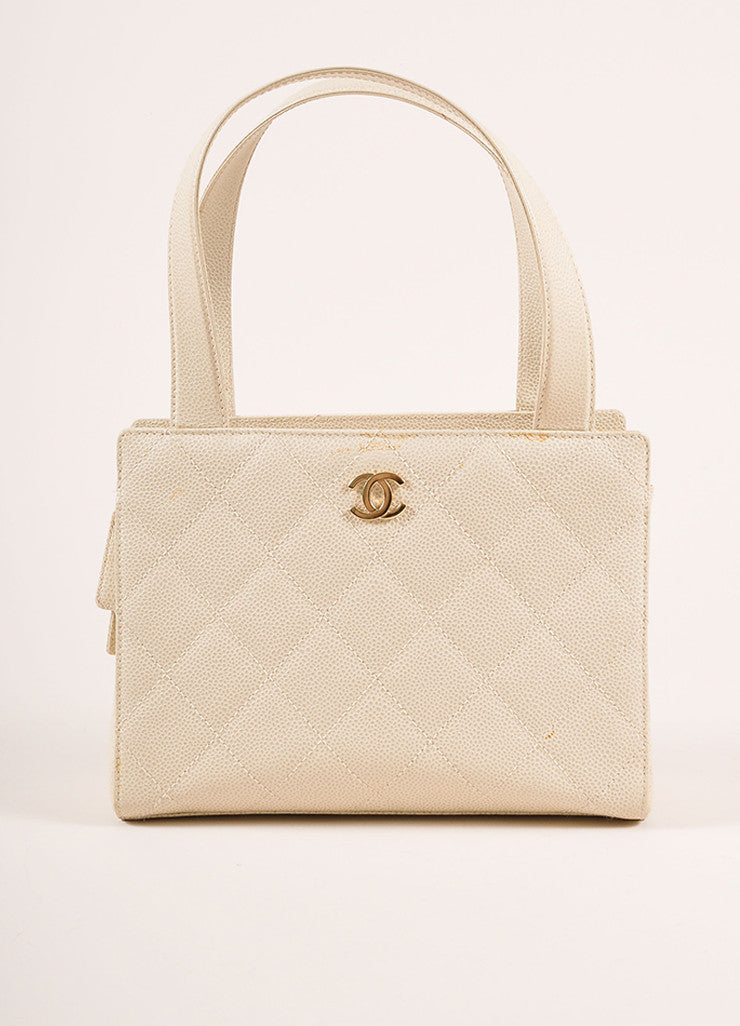 "Chanel Cream Quilted Caviar Leather ""CC"" Logo Small Square Tote Bag Frontview"