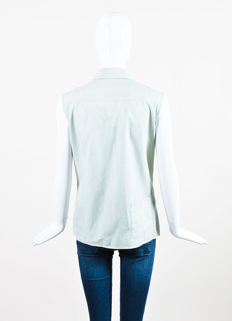 Chanel Green and White Cotton Striped Logo Pocket Sleeveless Button Up Shirt Backview