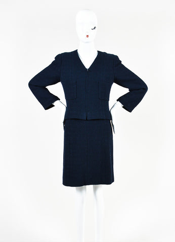Chanel Navy Blue Boucle Tweed Zip Long Sleeve Jacket A-Line Skirt Suit frontview