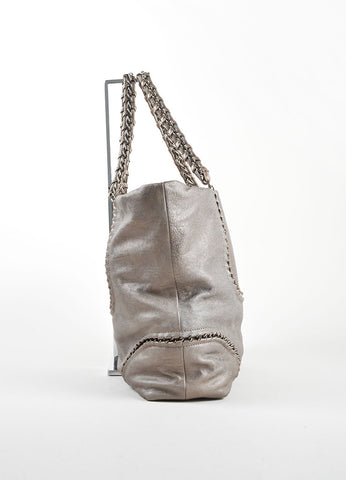 "Chanel Pewter Grey Caviar Leather ""Modern"" Chain ""CC"" Tote Bag Sideview"