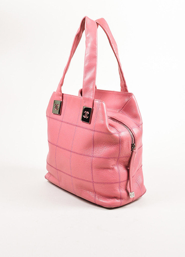 Chanel Pink Quilted Caviar Leather 'CC' Tote Bag Sideview