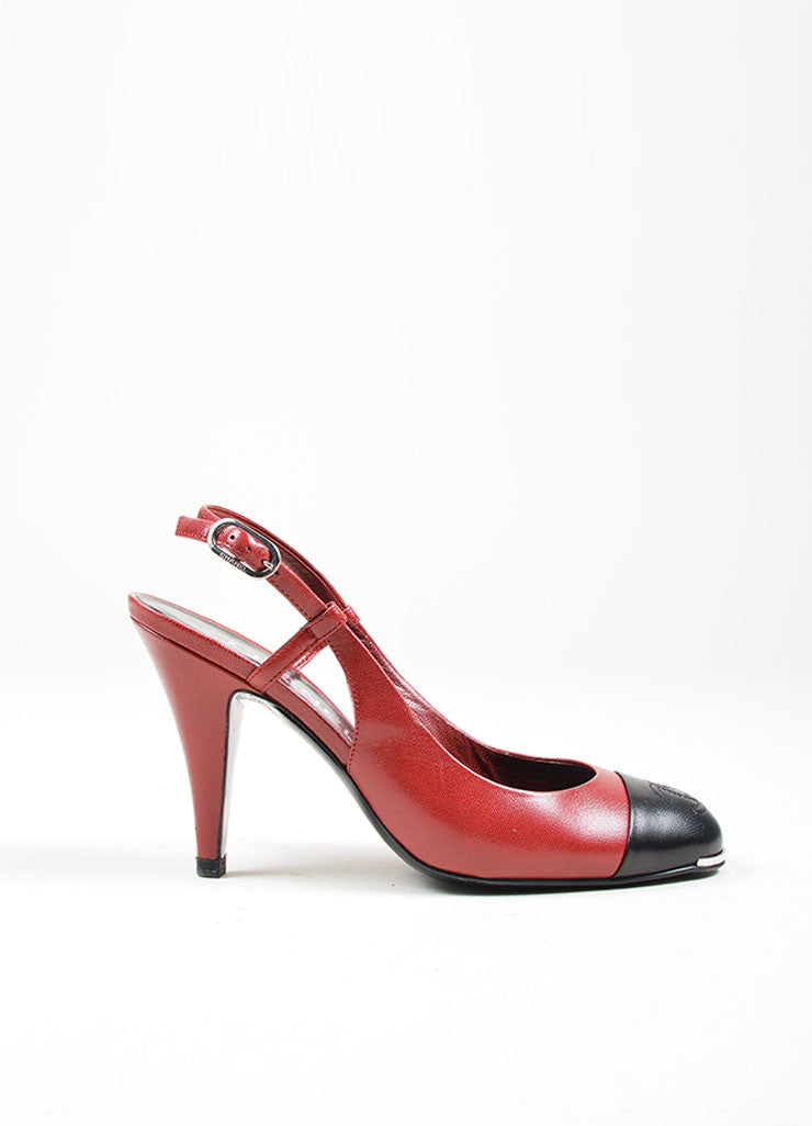 Red and Black Chanel Leather 'CC' Cap Toe Slingback High Heel Pumps Sideview