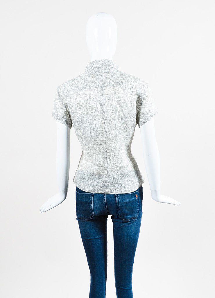 Chanel White and Black Word Print Pointed Collar Cap Sleeve Button Blouse Top Backview