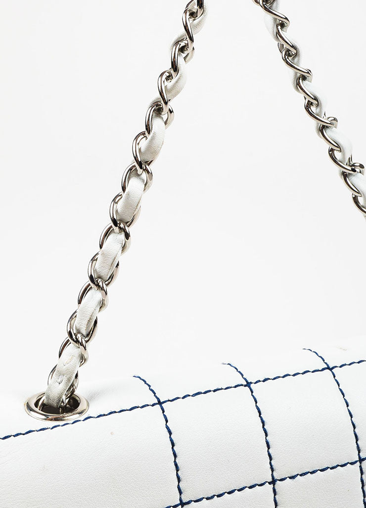 Chanel White Leather Navy Contrast Stitch Shoulder Flap Bag Detail 2