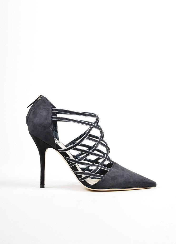 "Grey Christian Dior Suede Pointed Toe ""Captive"" Caged Pumps Sideview"