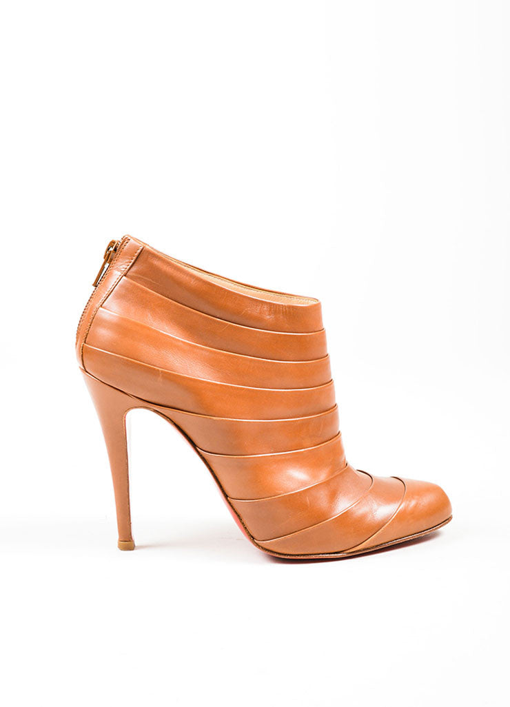 "Camel Christian Louboutin ""Orniron 100"" Pleated Booties Side"