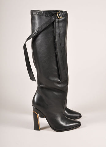 "Derek Lam New In Box Black Leather Knee High Wrap ""Tonya"" High Heeled Boots Sideview"