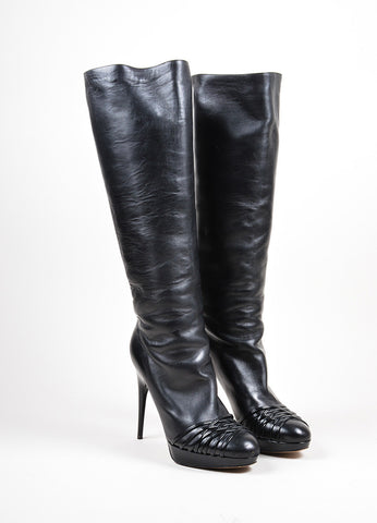 Black Christian Dior Patent Strappy Detail Tall Stiletto Boots Frontview