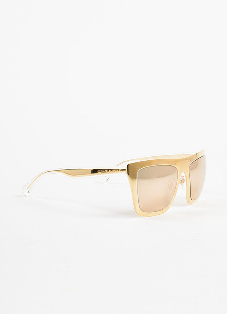 Dolce & Gabbana Limited Edition 18K Gold Plated Mirrored Square Sunglasses Sideview