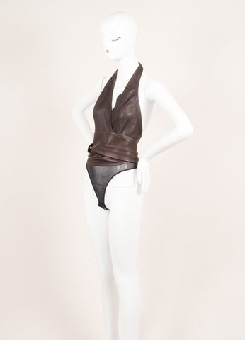 Donna Karan Brown Leather Wrap Sleeveless Belted Halter Body Suit Sideview