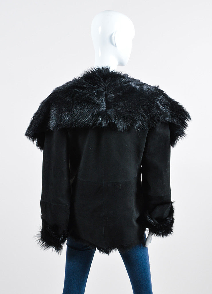 Black Donna Karan Suede Fur Lined Coat Backview
