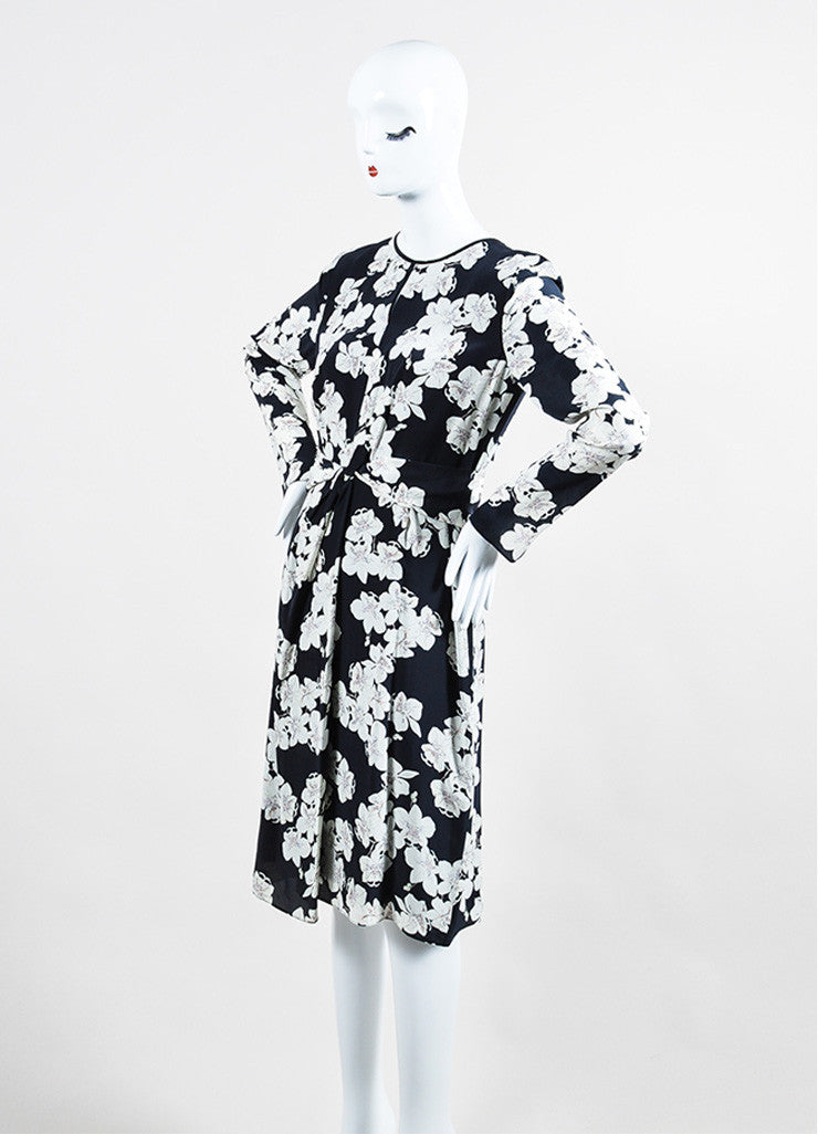 "Navy and White Erdem Silk Crepe Orchid Print ""Eden"" Long Sleeve Dress Sideview"