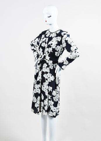 "Erdem Navy and White Silk Crepe Orchid Print ""Eden"" Long Sleeve Dress Sideview"