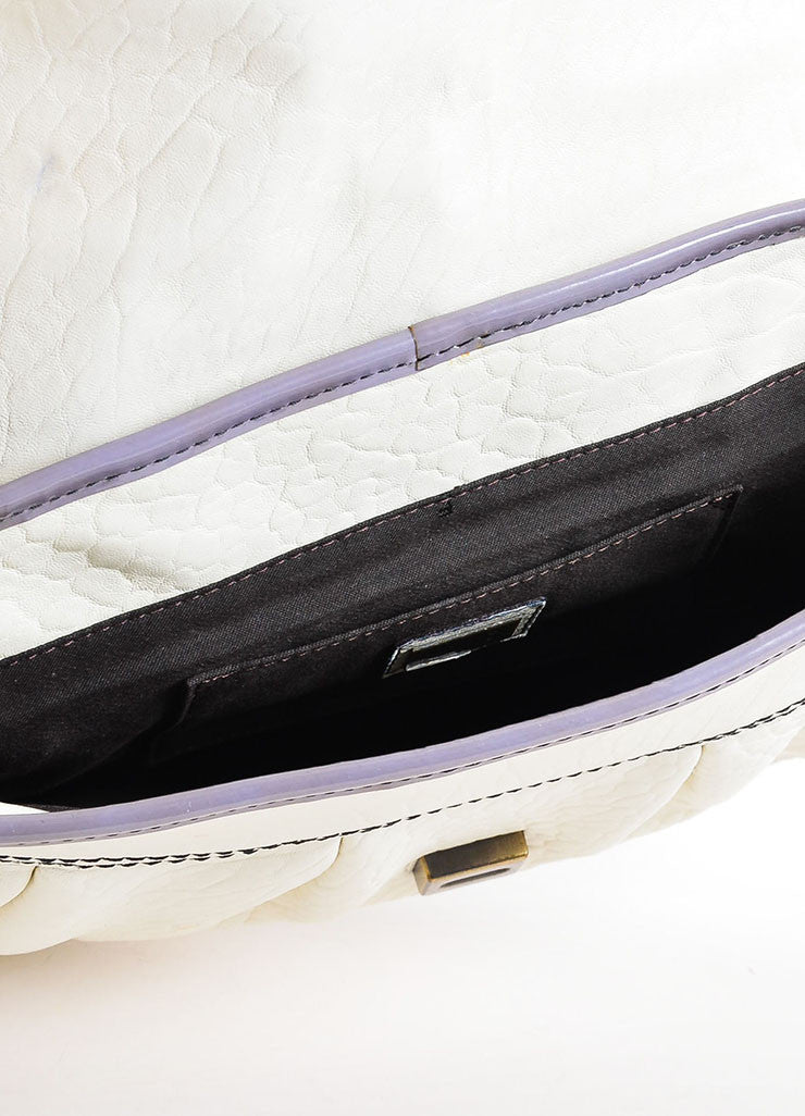 Fendi Cream, Grey, and Purple Leather Floral Embellished 'B' Shoulder Bag interior