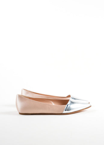 Giambattista Valli Beige Satin and Silver Pointed Cap Toe Flats Sideview