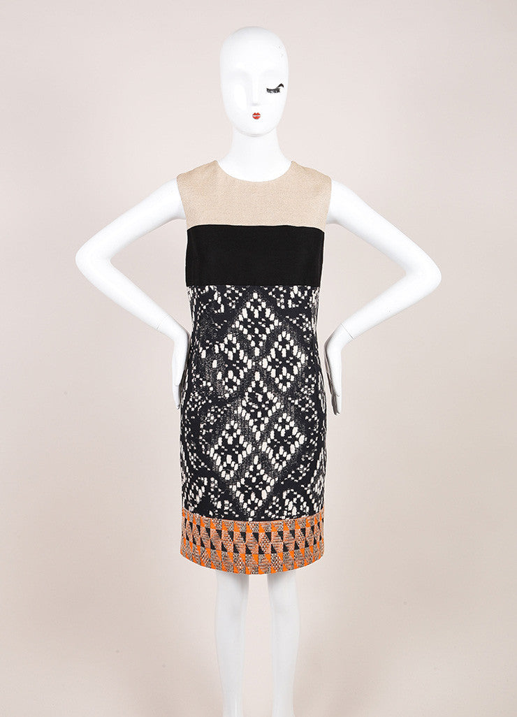 Giambattista Valli Tan, Black, and Orange Woven Sleeveless Dress Frontview