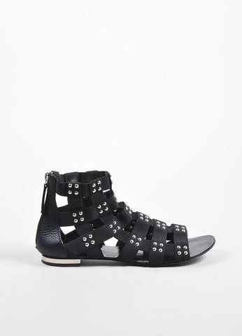 Giuseppe Zanotti for Balmain Black and Silver Studded Gladiator Sandals