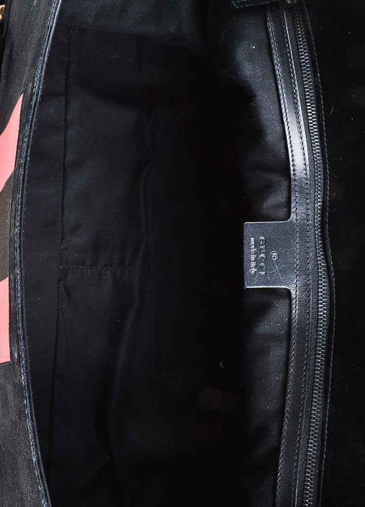 Black and Pink Gucci Canvas Monogram Horsebit Flap Satchel Bag Interior