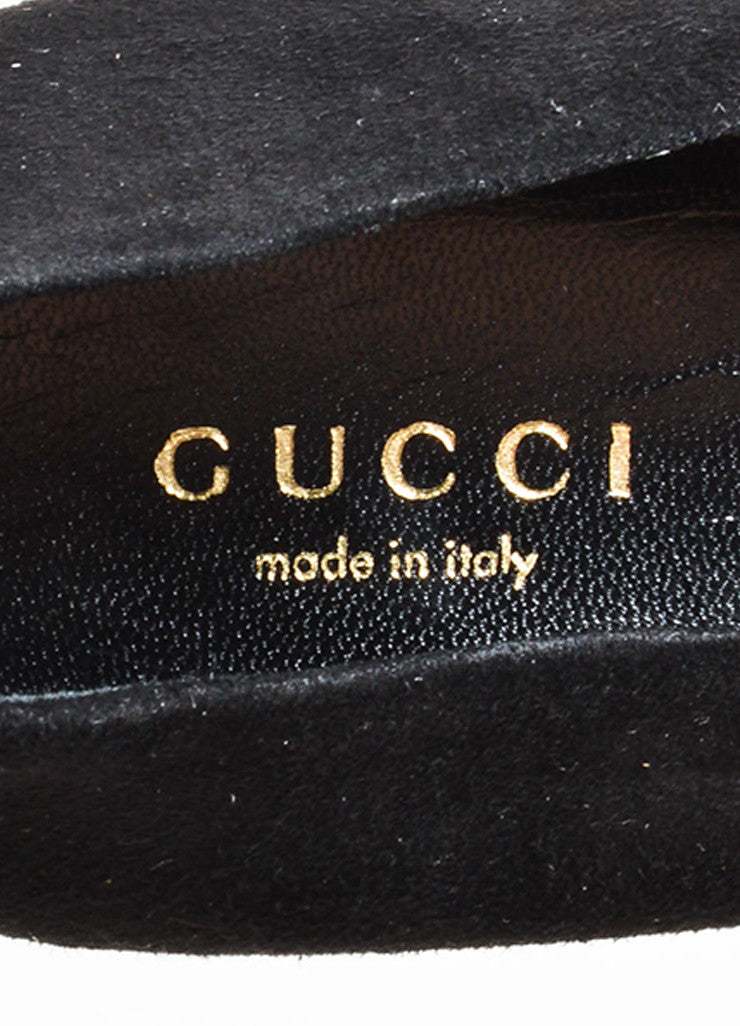 Gucci Black Suede Square Toe Platform Pumps Brand